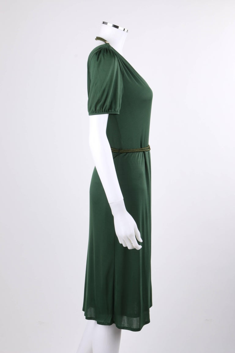 Black GUCCI Resort 2007 Forest Green Jersey Knit Wrap Cocktail Dress + Rope Belt NWT For Sale
