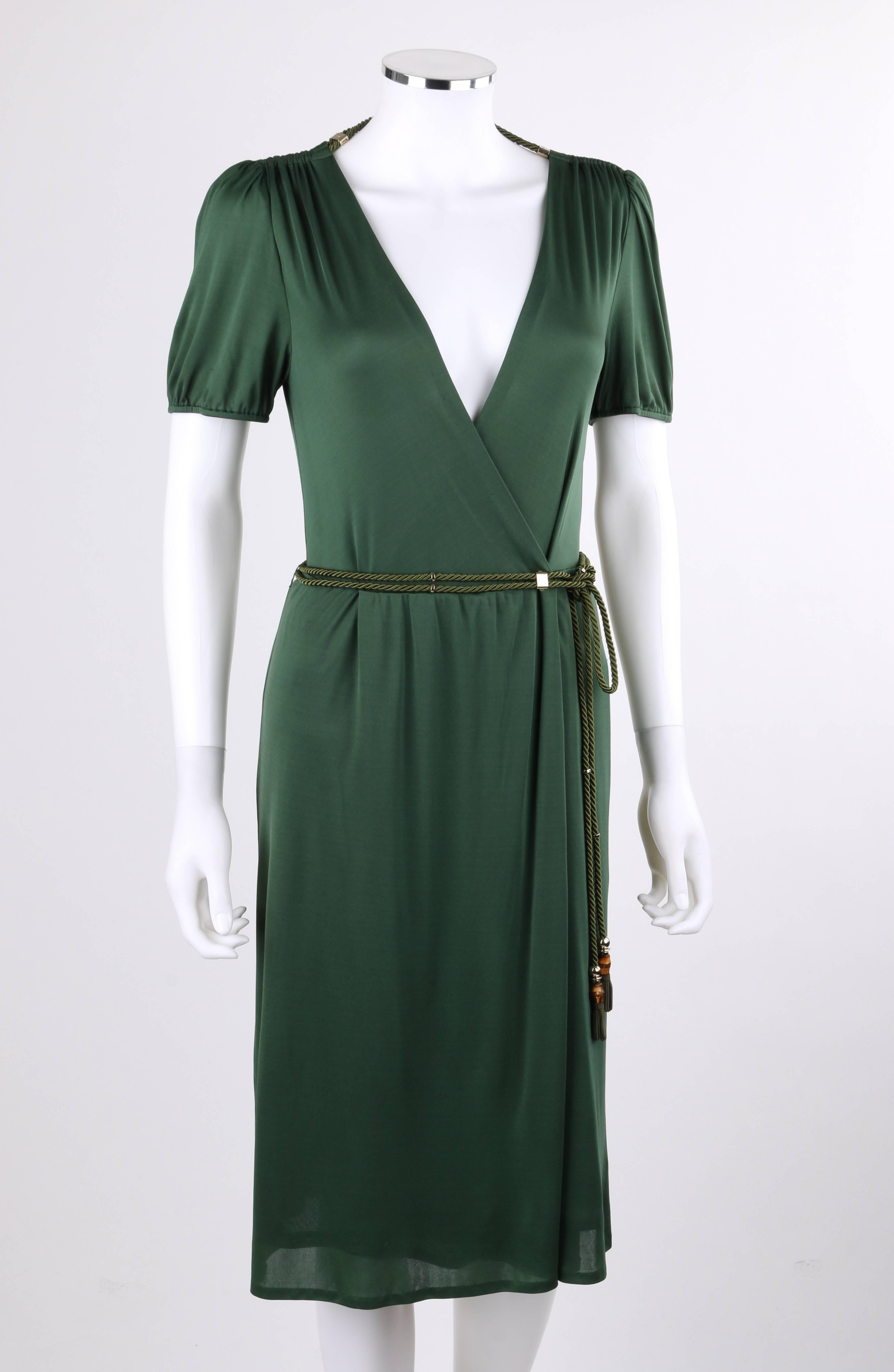 217b387cfb GUCCI Resort 2007 Forest Green Jersey Knit Wrap Cocktail Dress + Rope Belt  NWT For Sale at 1stdibs