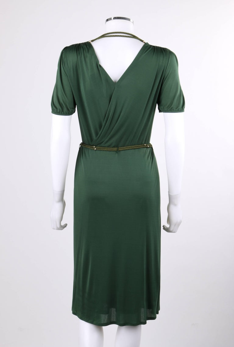 GUCCI Resort 2007 Forest Green Jersey Knit Wrap Cocktail Dress + Rope Belt NWT In New Condition For Sale In Thiensville, WI