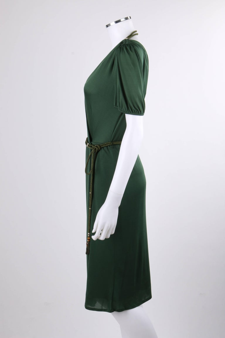 Women's GUCCI Resort 2007 Forest Green Jersey Knit Wrap Cocktail Dress + Rope Belt NWT For Sale