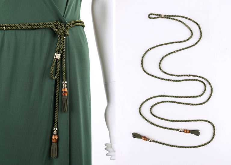 GUCCI Resort 2007 Forest Green Jersey Knit Wrap Cocktail Dress + Rope Belt NWT For Sale 2