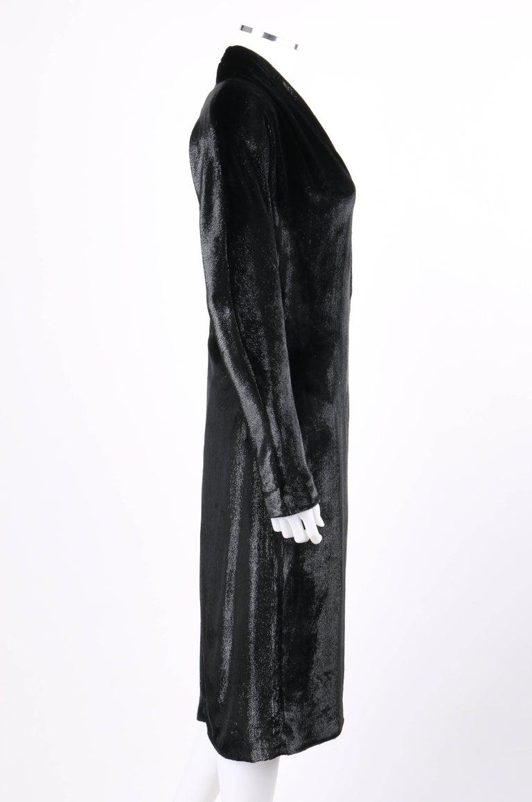 YVES SAINT LAURENT A/W 2000 YSL Black Lame Velvet Cocktail Evening Dress 4