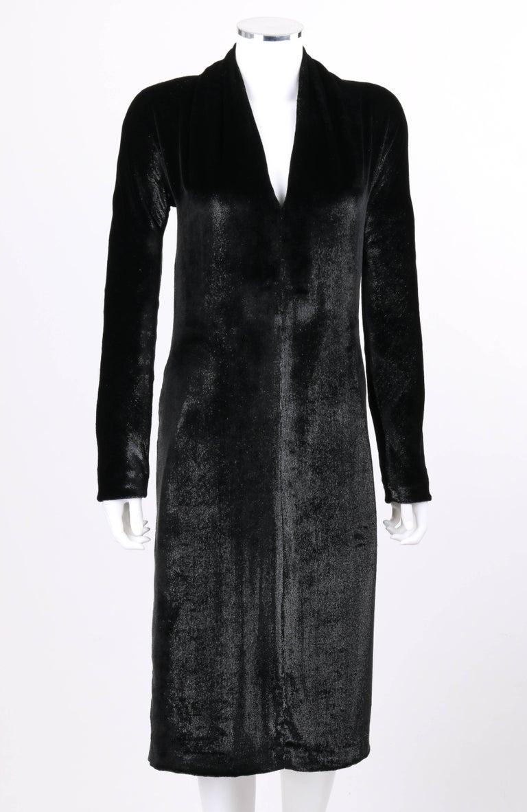 YVES SAINT LAURENT A/W 2000 YSL Black Lame Velvet Cocktail Evening Dress 3