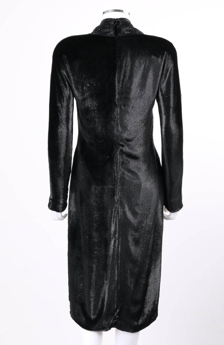YVES SAINT LAURENT A/W 2000 YSL Black Lame Velvet Cocktail Evening Dress 5