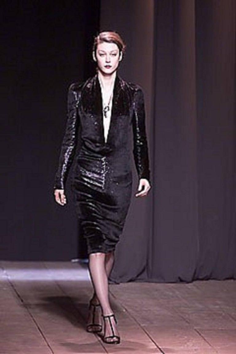 YVES SAINT LAURENT A/W 2000 YSL Black Lame Velvet Cocktail Evening Dress 10