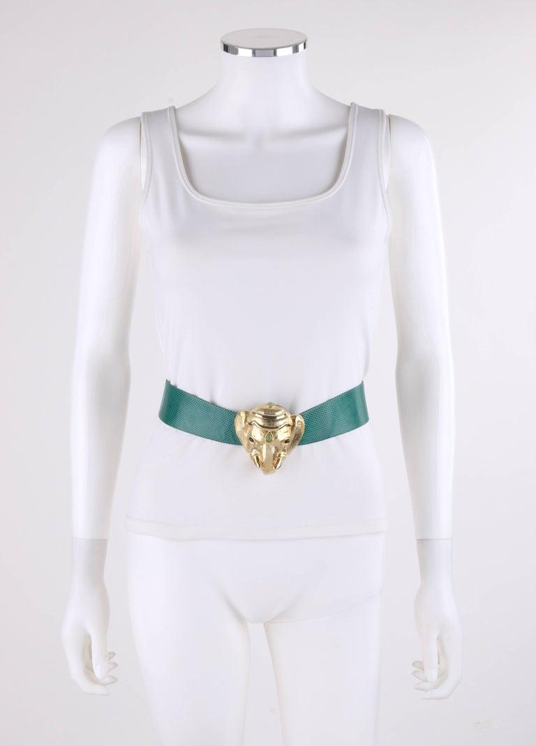 JUDITH LEIBER c.1980's Emerald Green Lizard Leather Gold Ganesh Elephant Belt For Sale 1