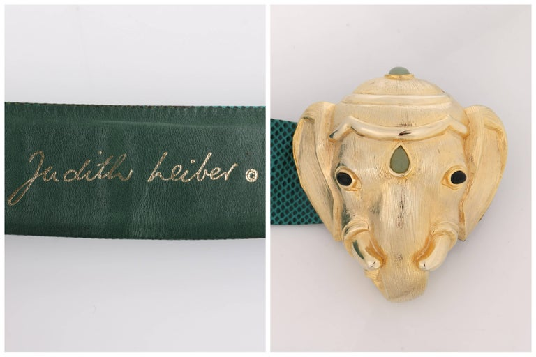 JUDITH LEIBER c.1980's Emerald Green Lizard Leather Gold Ganesh Elephant Belt In Excellent Condition For Sale In Thiensville, WI