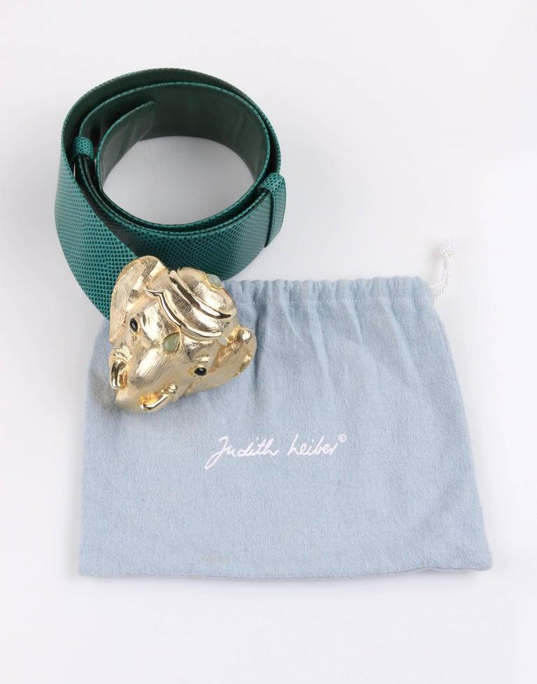 JUDITH LEIBER c.1980's Emerald Green Lizard Leather Gold Ganesh Elephant Belt 3