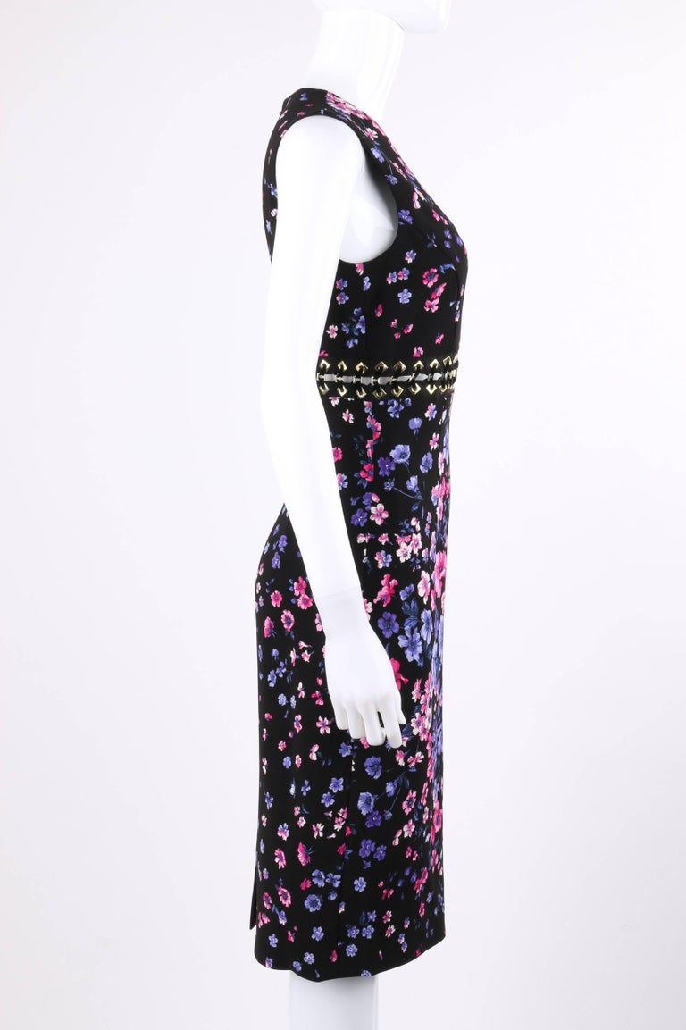 VERSACE S/S 2012 Black Multicolor Floral Print Shift Cocktail Dress NWT In New Condition For Sale In Thiensville, WI