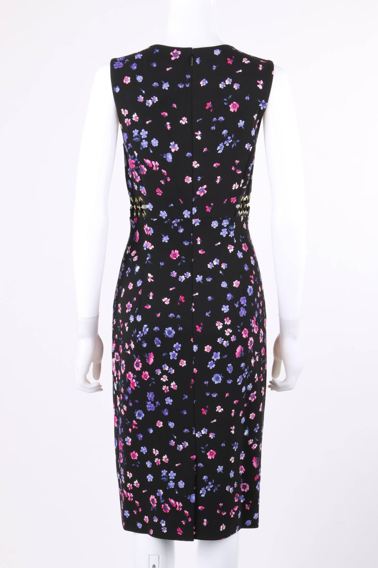 Women's VERSACE S/S 2012 Black Multicolor Floral Print Shift Cocktail Dress NWT For Sale