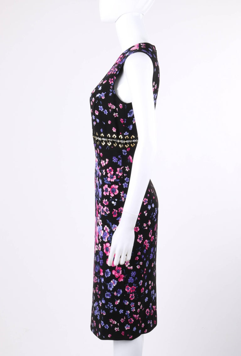 VERSACE S/S 2012 Black Multicolor Floral Print Shift Cocktail Dress NWT For Sale 1