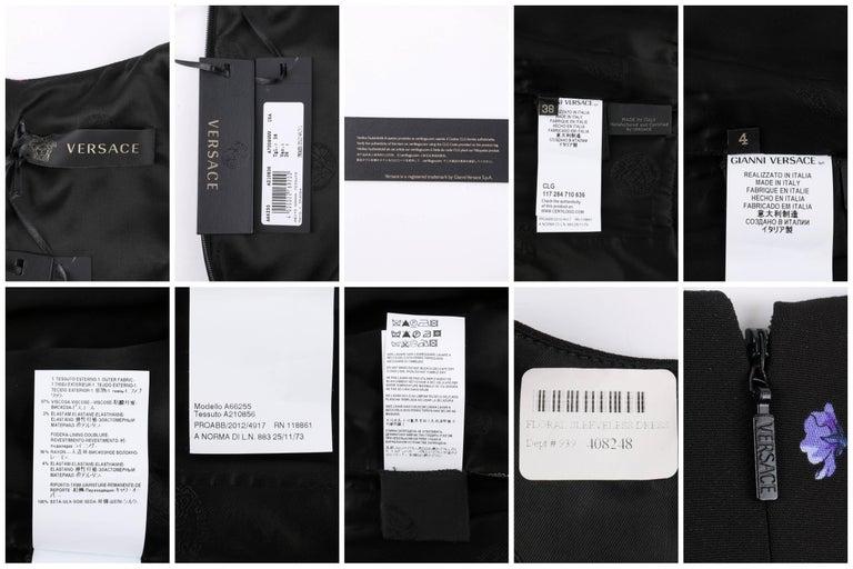 VERSACE S/S 2012 Black Multicolor Floral Print Shift Cocktail Dress NWT For Sale 2