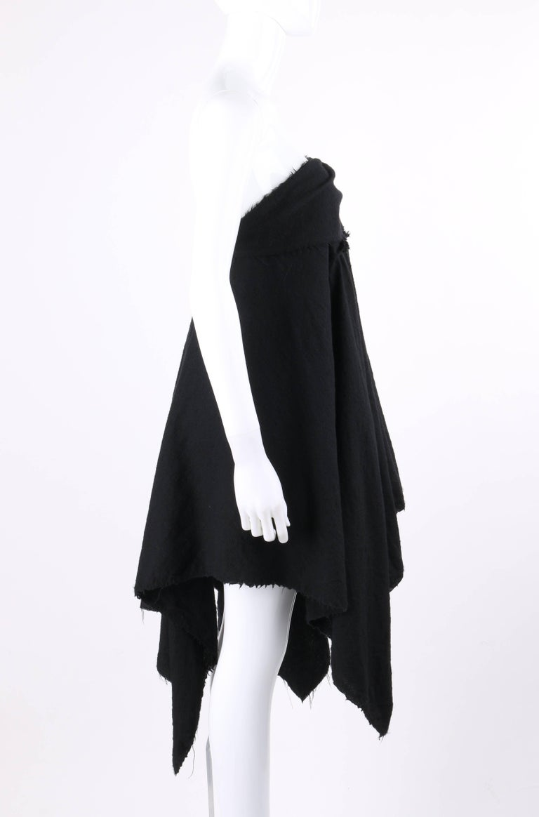 COMME DES GARCONS A/W 2003 Black Wool Handkerchief Hem Convertible Dress / Skirt In Excellent Condition For Sale In Thiensville, WI
