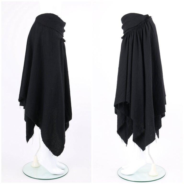 COMME DES GARCONS A/W 2003 Black Wool Handkerchief Hem Convertible Dress / Skirt For Sale 3