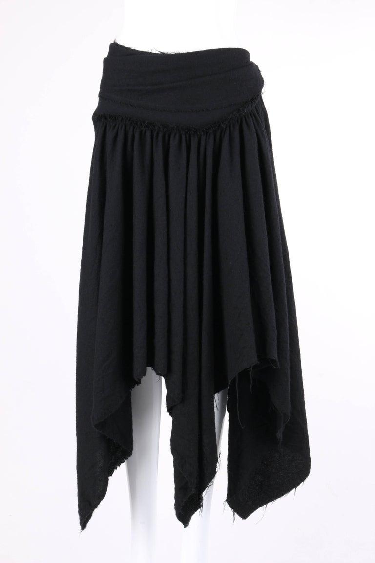 COMME DES GARCONS A/W 2003 Black Wool Handkerchief Hem Convertible Dress / Skirt For Sale 2