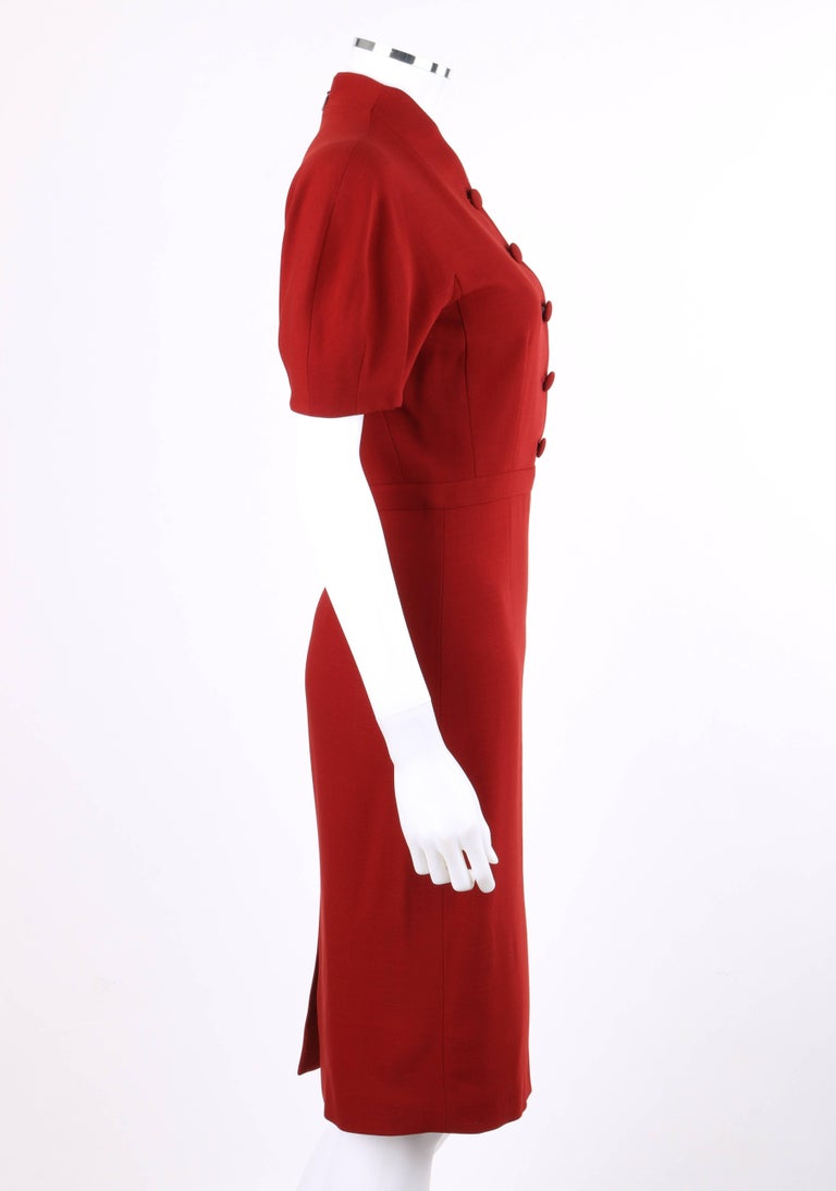 Women's GUCCI Pre-Fall 2013 Red Wool Button Front Dolman Sleeve Shift Dress NWT For Sale