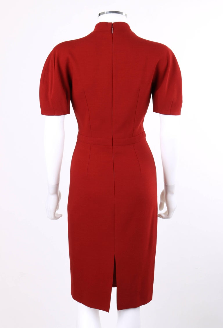 GUCCI Pre-Fall 2013 Red Wool Button Front Dolman Sleeve Shift Dress NWT For Sale 1