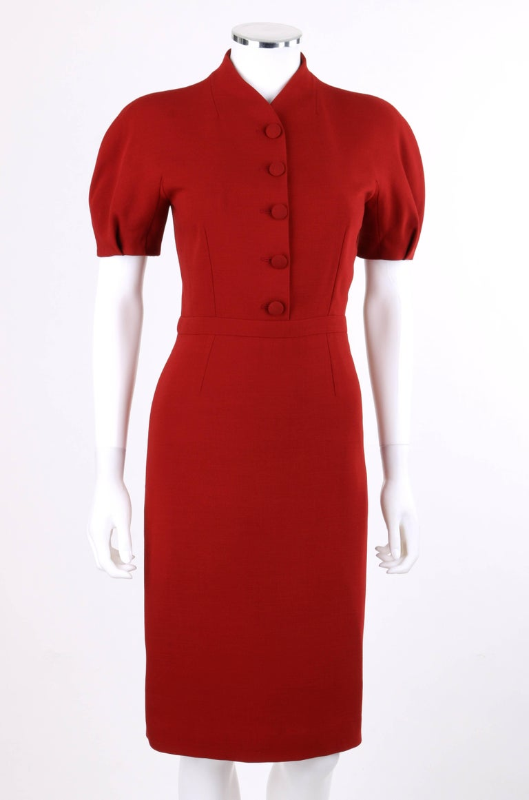 GUCCI Pre-Fall 2013 Red Wool Button Front Dolman Sleeve Shift Dress NWT In New never worn Condition For Sale In Thiensville, WI