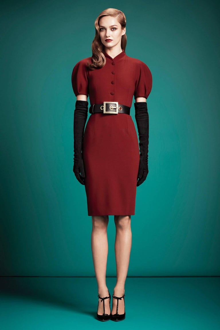 GUCCI Pre-Fall 2013 Red Wool Button Front Dolman Sleeve Shift Dress NWT For Sale 5