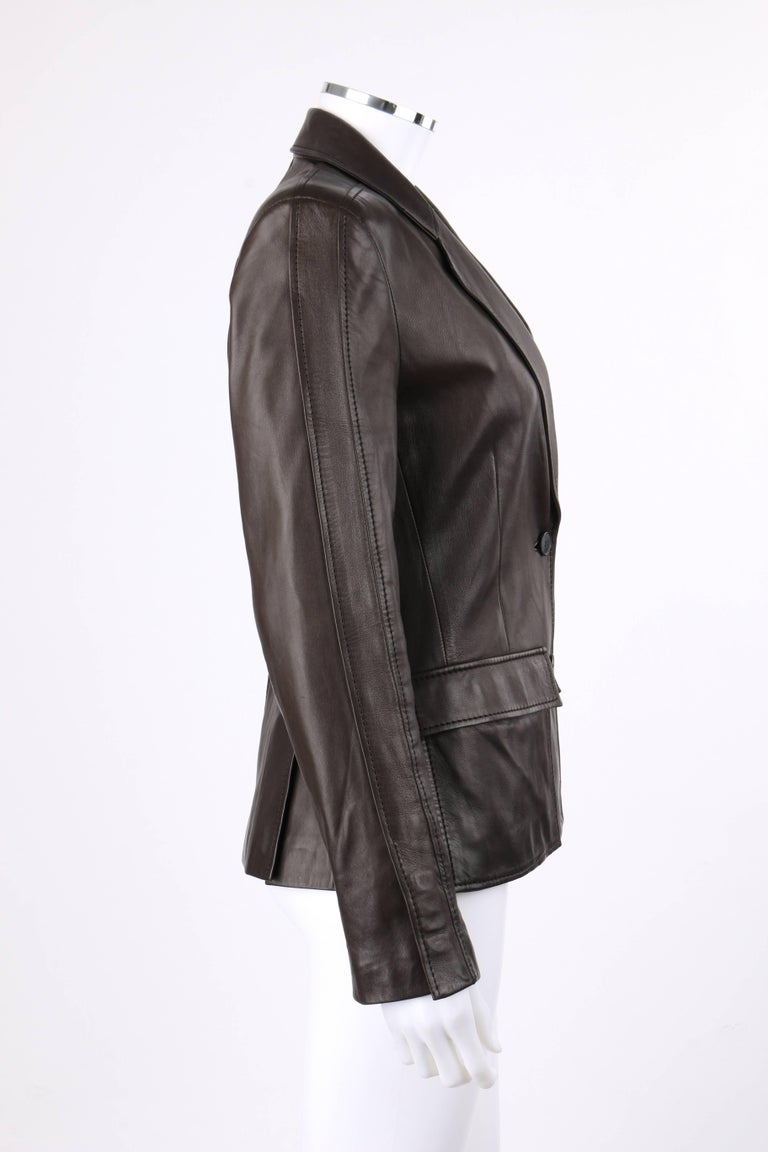 9f5b1bf98a YVES SAINT LAURENT YSL Brown Leather Two Button Blazer Jacket