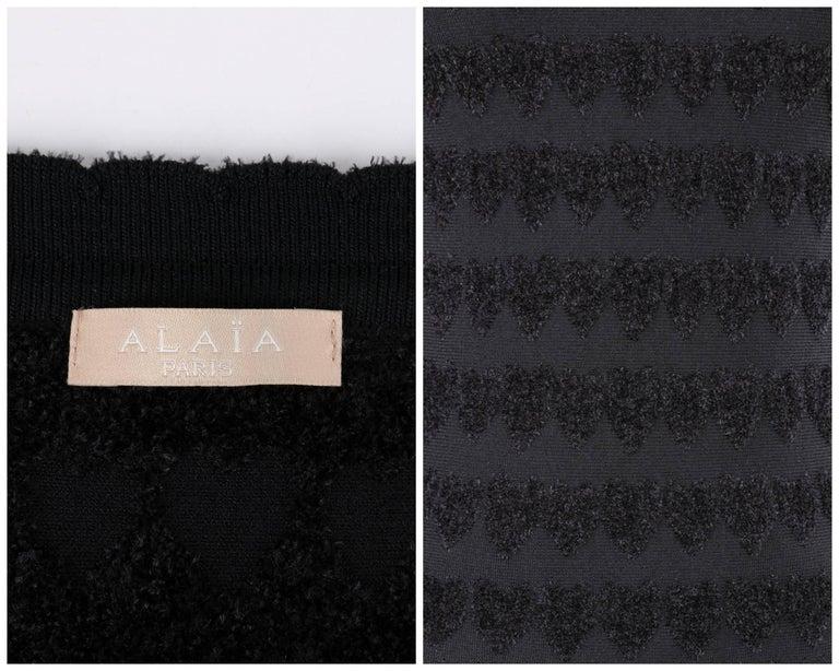 ALAIA Paris Black Heart Patterned Knit Fit & Flare Cocktail Dress 6