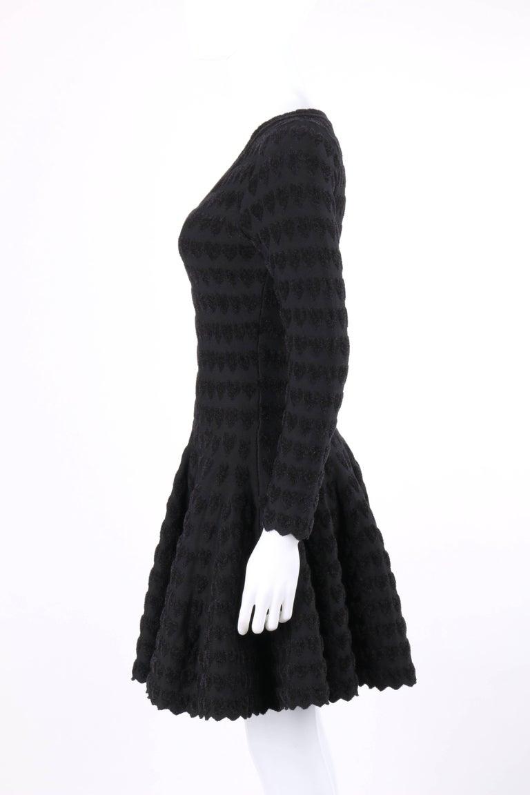 ALAIA Paris Black Heart Patterned Knit Fit & Flare Cocktail Dress 5