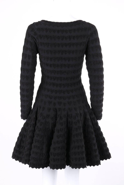 ALAIA Paris Black Heart Patterned Knit Fit & Flare Cocktail Dress 4