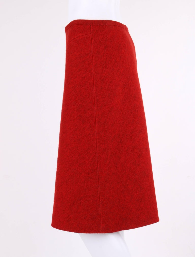 ALAIA c.1990's Red Boiled Wool Classic A-Line Skirt  For Sale 1
