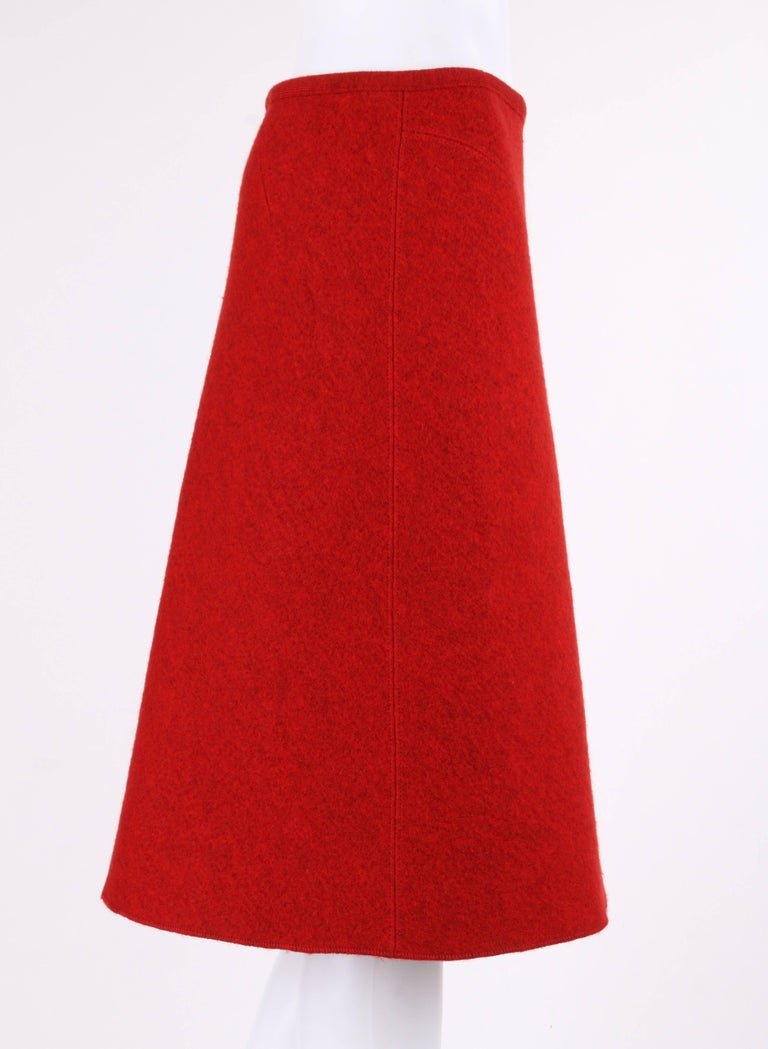 ALAIA c.1990's Red Boiled Wool Classic A-Line Skirt  In New Condition For Sale In Thiensville, WI