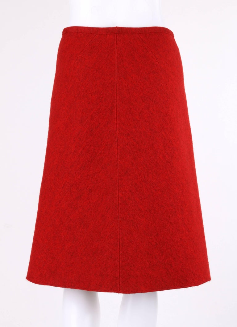 Women's ALAIA c.1990's Red Boiled Wool Classic A-Line Skirt  For Sale