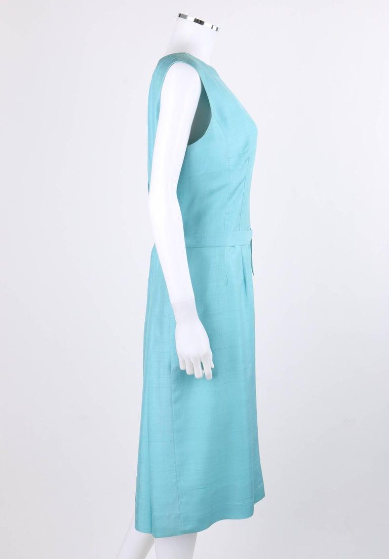 PIERRE CARDIN c.1960's Aquamarine Blue Silk Knife Pleated Shift Dress + Belt 4