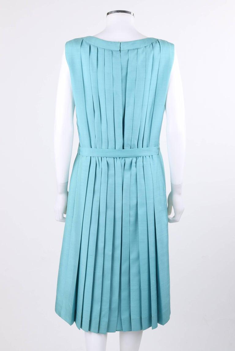 PIERRE CARDIN c.1960's Aquamarine Blue Silk Knife Pleated Shift Dress + Belt 5
