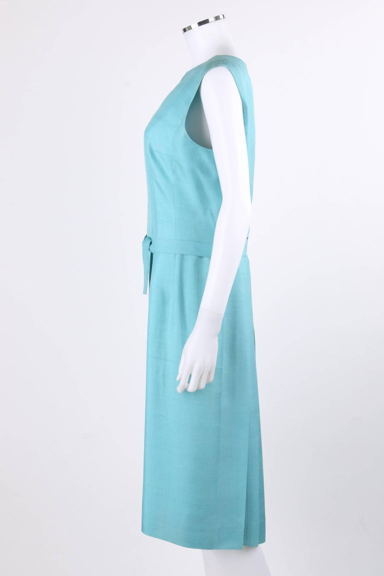 PIERRE CARDIN c.1960's Aquamarine Blue Silk Knife Pleated Shift Dress + Belt 6