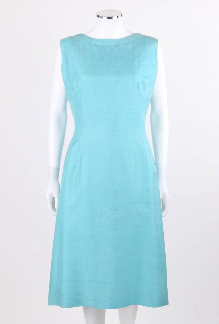 PIERRE CARDIN c.1960's Aquamarine Blue Silk Knife Pleated Shift Dress + Belt 3