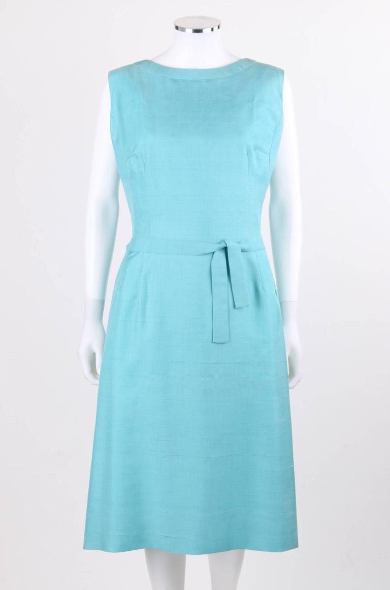 PIERRE CARDIN c.1960's Aquamarine Blue Silk Knife Pleated Shift Dress + Belt 2