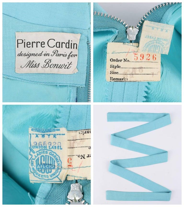 PIERRE CARDIN c.1960's Aquamarine Blue Silk Knife Pleated Shift Dress + Belt 7