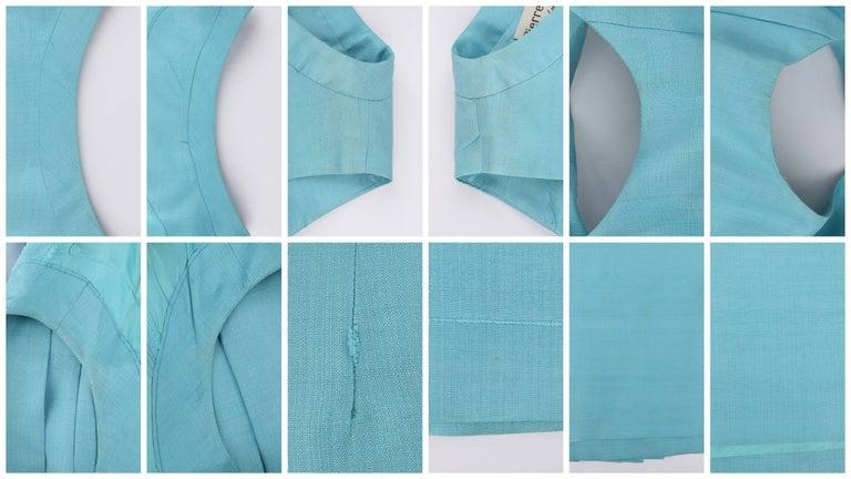 PIERRE CARDIN c.1960's Aquamarine Blue Silk Knife Pleated Shift Dress + Belt 8