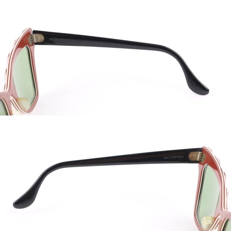 "B&L RAY-BAN c.1956 ""Zanzibar"" BAUSCH & LOMB Wine Red & White Cat Eye Sunglasses 5"