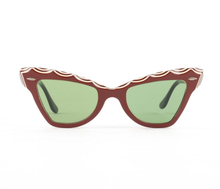 "B&L RAY-BAN c.1956 ""Zanzibar"" BAUSCH & LOMB Wine Red & White Cat Eye Sunglasses 2"