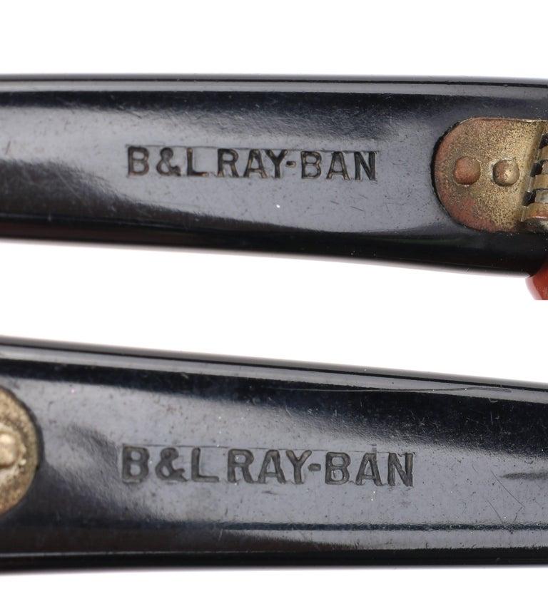 "B&L RAY-BAN c.1956 ""Zanzibar"" BAUSCH & LOMB Wine Red & White Cat Eye Sunglasses 7"