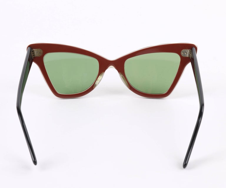 "B&L RAY-BAN c.1956 ""Zanzibar"" BAUSCH & LOMB Wine Red & White Cat Eye Sunglasses 4"