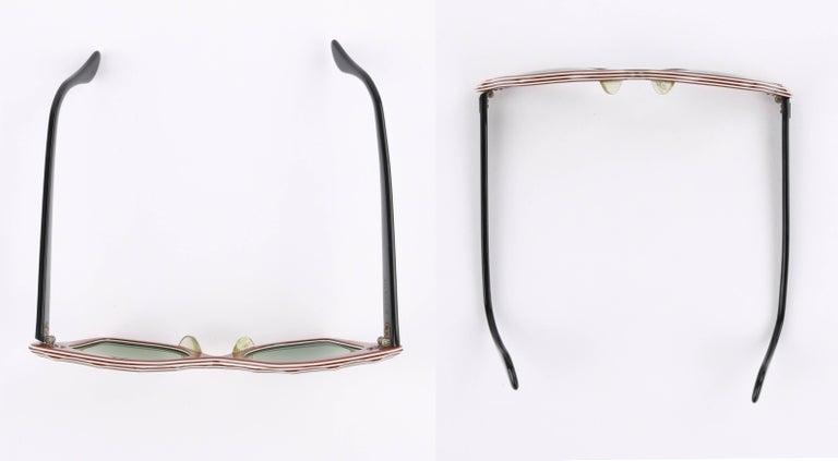 "B&L RAY-BAN c.1956 ""Zanzibar"" BAUSCH & LOMB Wine Red & White Cat Eye Sunglasses 6"