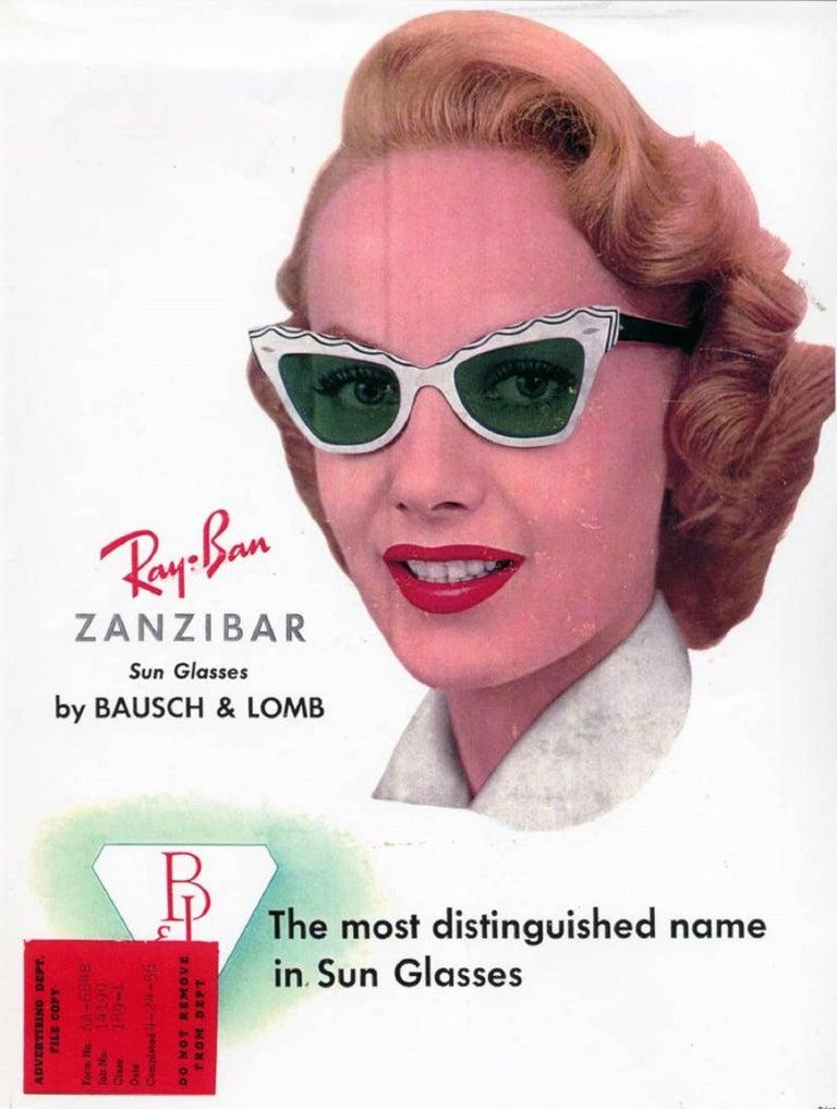 "B&L RAY-BAN c.1956 ""Zanzibar"" BAUSCH & LOMB Wine Red & White Cat Eye Sunglasses 10"