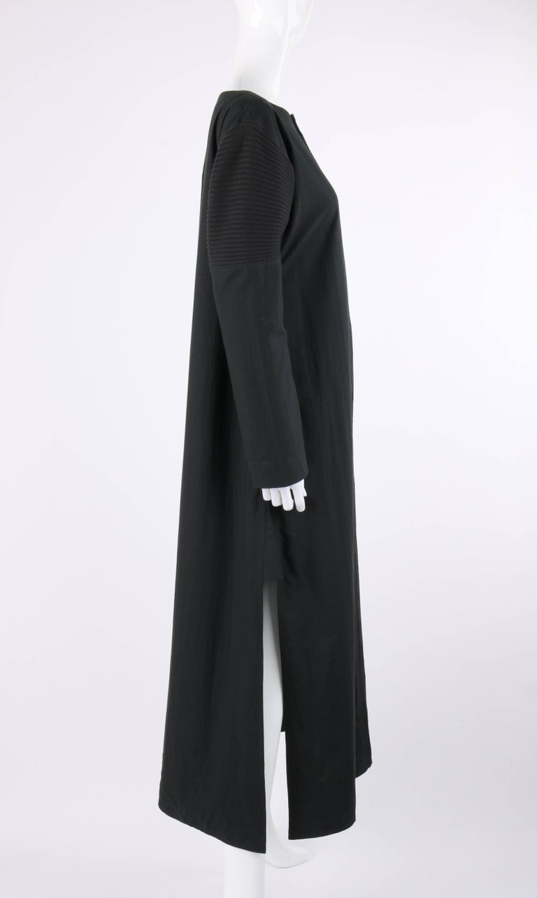 ISSEY MIYAKE Black Long Sleeve Rib Knit Detail Full Length Coat Dress In Excellent Condition For Sale In Thiensville, WI