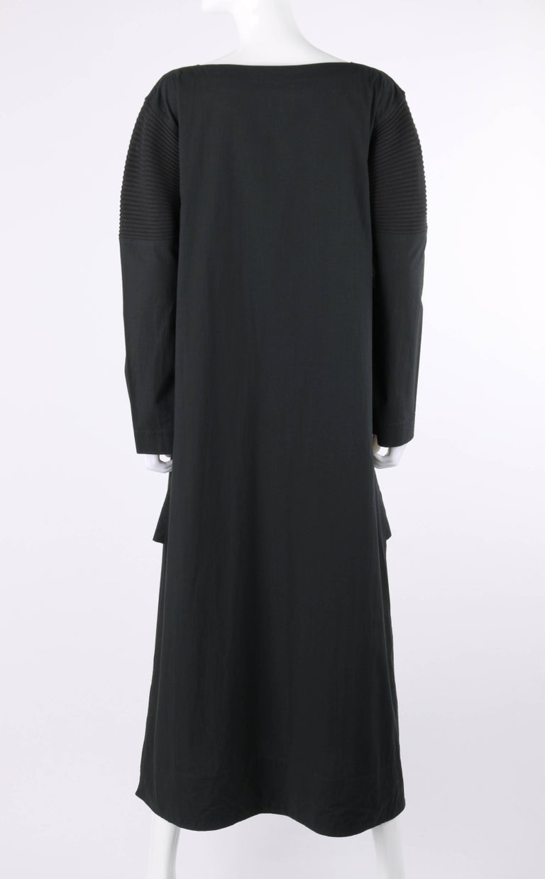 Women's ISSEY MIYAKE Black Long Sleeve Rib Knit Detail Full Length Coat Dress For Sale