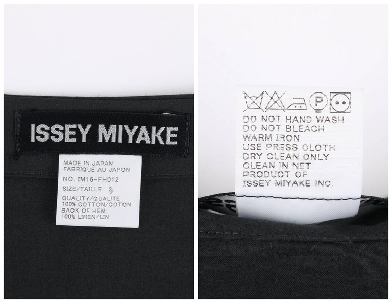 ISSEY MIYAKE Black Long Sleeve Rib Knit Detail Full Length Coat Dress For Sale 3