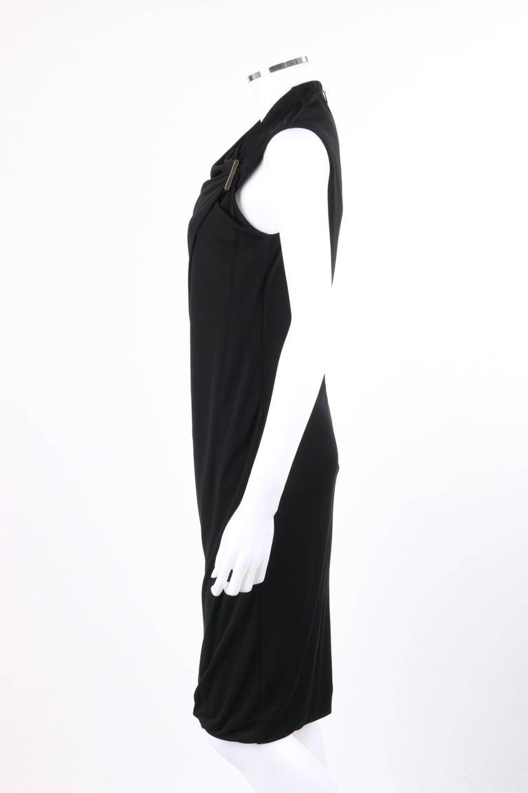 ba9bdf4f65 GUCCI Black Jersey Knit Sleeveless Draped Shift Cocktail Dress For Sale 1