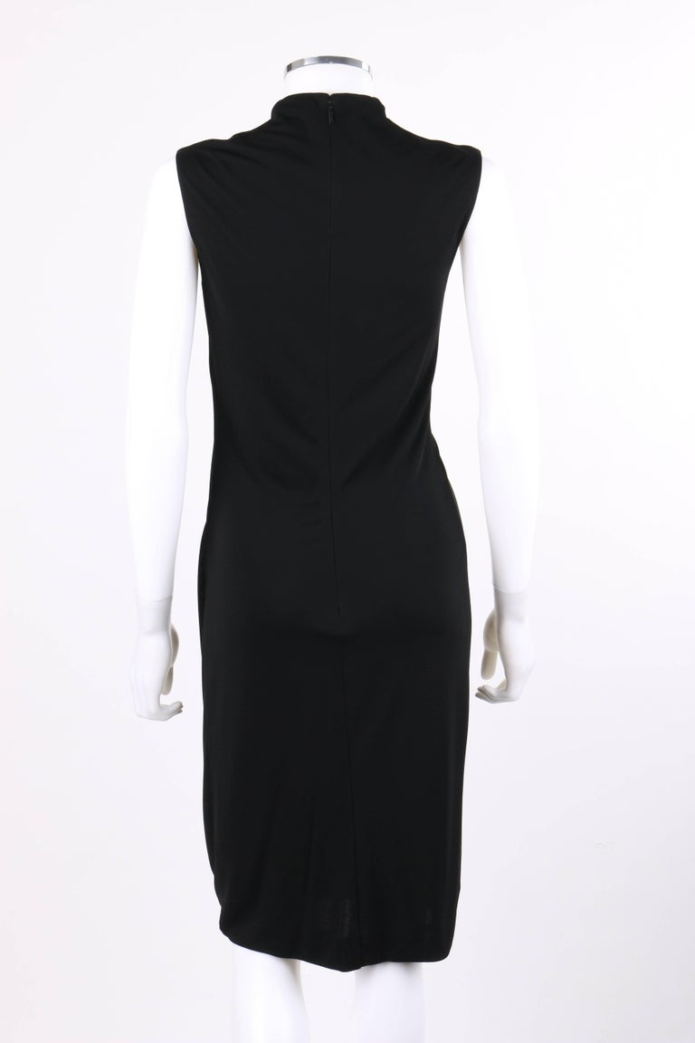 eb91dd9c15 Women s GUCCI Black Jersey Knit Sleeveless Draped Shift Cocktail Dress For  Sale