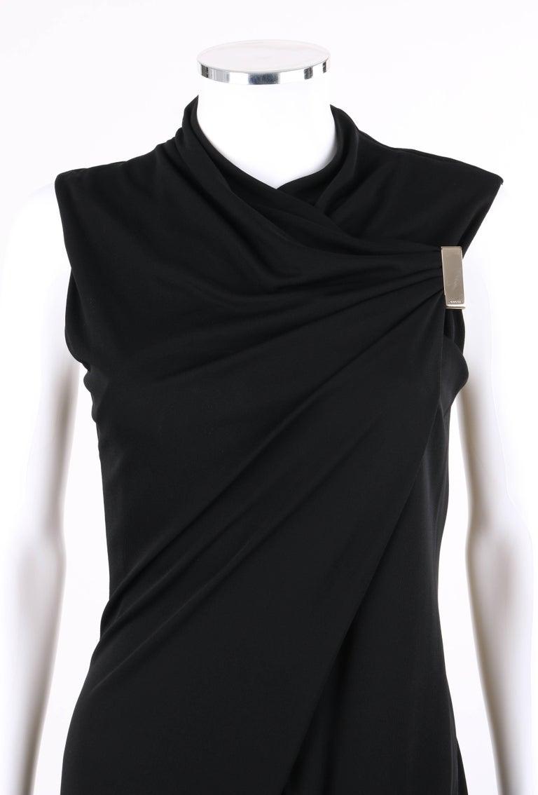 223e644885 GUCCI Black Jersey Knit Sleeveless Draped Shift Cocktail Dress For Sale 2