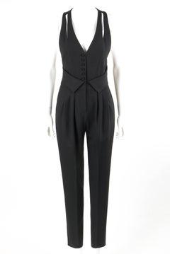 FENDI Resort 2009 Black Wool Sleeveless Tapered Pant Tuxedo Jumpsuit